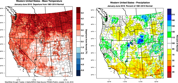 Figure 2 Western Us Year To Date January Through June 2016 Temperature Departure From Normal Left And Percent Of Normal Precipitation Right