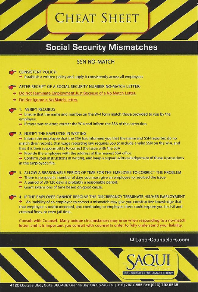 Cheat Sheets Part III - SS# No-Match