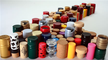 Wine corks, screwcap, synthetic cork