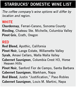 Starbucks Wine List