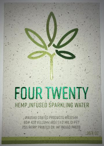 420 Vellum, made from pulp from hemp plants it contains 25% hemp and the balance is composed of post-consumer fiber