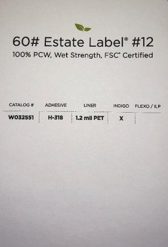 Estate Label #12 a solid environmental choice as is made from 100% PCW and is FSC® Certified